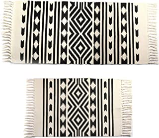 Cotton Area Rug Set with Tassels 2 Pack Printed Hand Woven Washable Rug/Mat Entryway for Bedroom, Kitchen, Laundry Room and More by fani (24