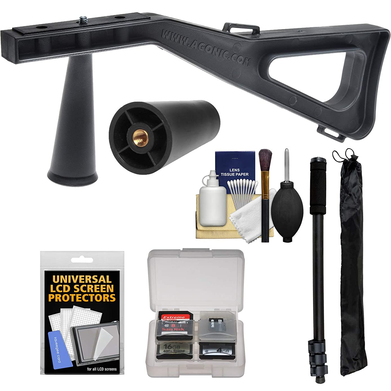 stedi-stock 肩 brace 稳定器黑色带快速释放 + 30.48?cm monopod + 清洁配件套件适用于 DSLR 相机摄像机 & spotting scopes