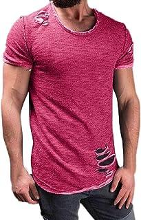Casual Fashion Solid Round Collar Tees Short Sleeve Tops Realdo Mens Hole T-Shirt