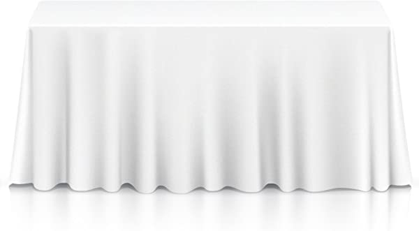 Lann S Linens 90 X 132 Premium Tablecloth For Wedding Banquet Restaurant Rectangular Polyester Fabric Table Cloth White