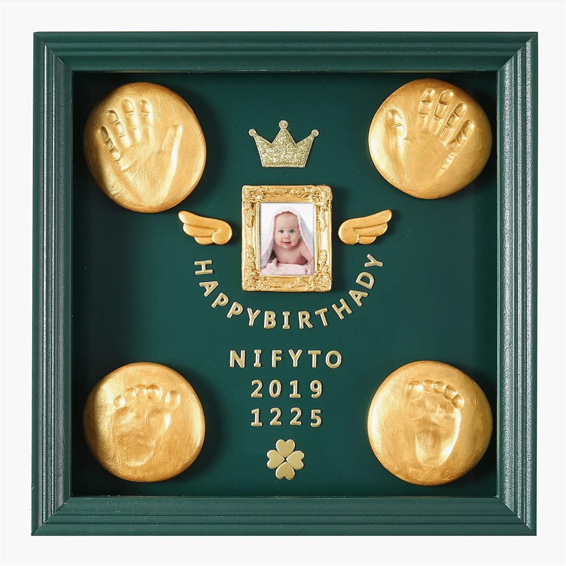 Nifyto Baby Handprint Footprint Ornament Keepsake Kit, Baby Nursery Memory Art Kit, Baby Shower Gifts, Xmas Gifts, Precious Moment for Newborn,Baby Boy/Girl, Personalized Baby Prints(DarkGreen)…