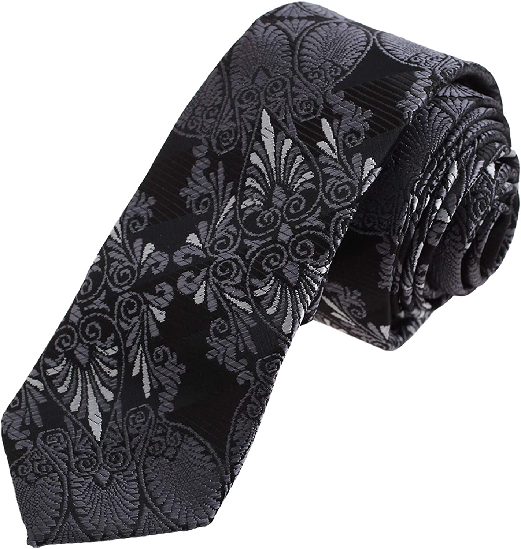 Dan Smith Fashion Slim Necktie Patterned Microfiber Skinny Tie With Box
