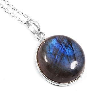 Ratnagarbha Labradorite Necklace, Sterling Silver Chain, Delicate Gemstone Necklace, Tiny Pendant Necklace, Birthstone Nec...