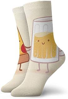 tyui7, Medias deportivas transpirables para hombres y mujeres Dibujos animados Pizza y cerveza Divertidos calcetines de poliéster 30 cm (11.8 pulgadas)