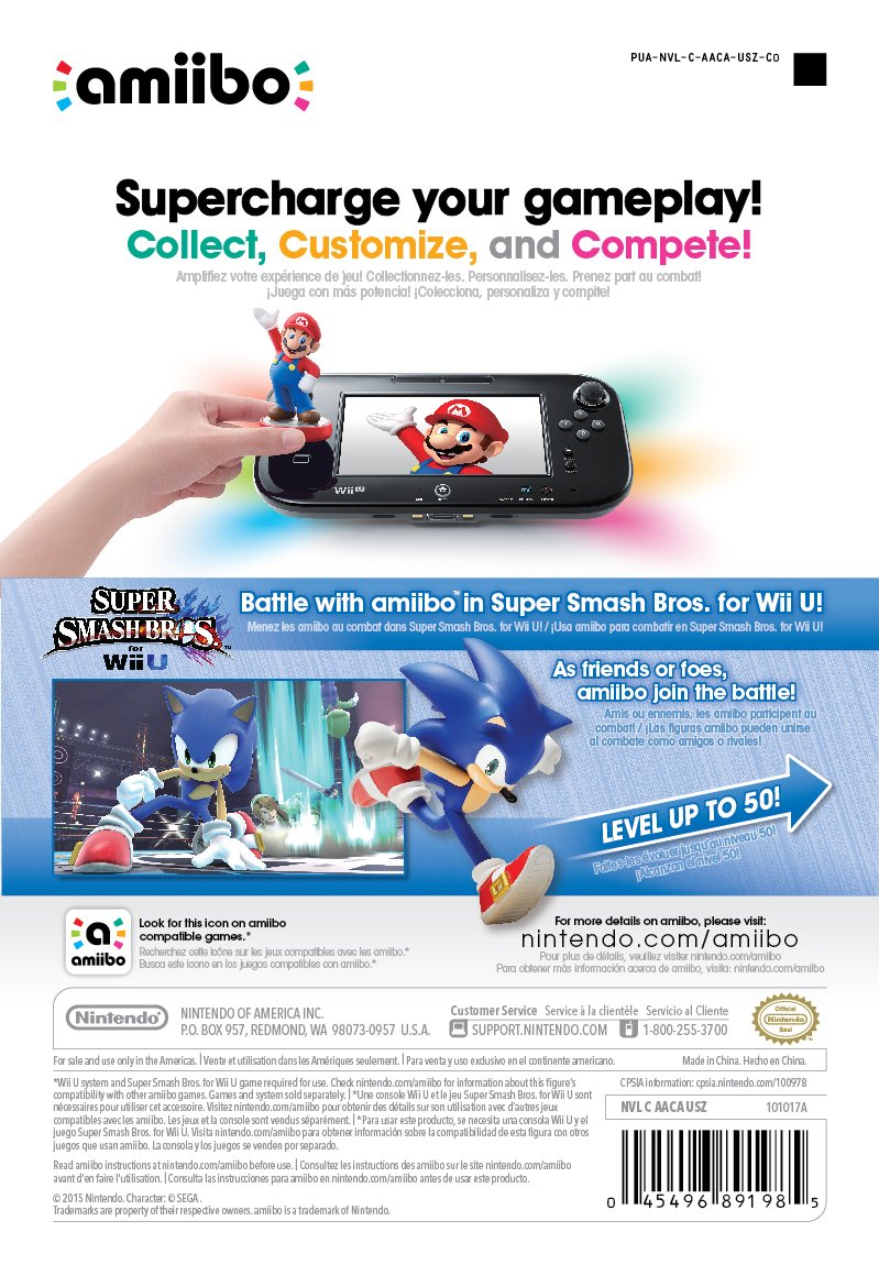 Amazon Com Sonic Amiibo Super Smash Bros Series Amiibo Sonic Video Games