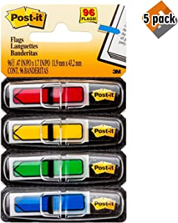 Post-it Arrow Flags, Assorted Primary Colors.47 in. Wide, 24/Dispenser, 4 Dispensers/Pack, (684-ARR3)