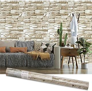 45cmx10m 石のレンガの壁のステッカー 壁紙 はがせる DIY 石目調 3D 防水 ライトグレー 貼ってはがせる かんたんタイル 貼付シールタイプ 家の装飾 グレー ブリック