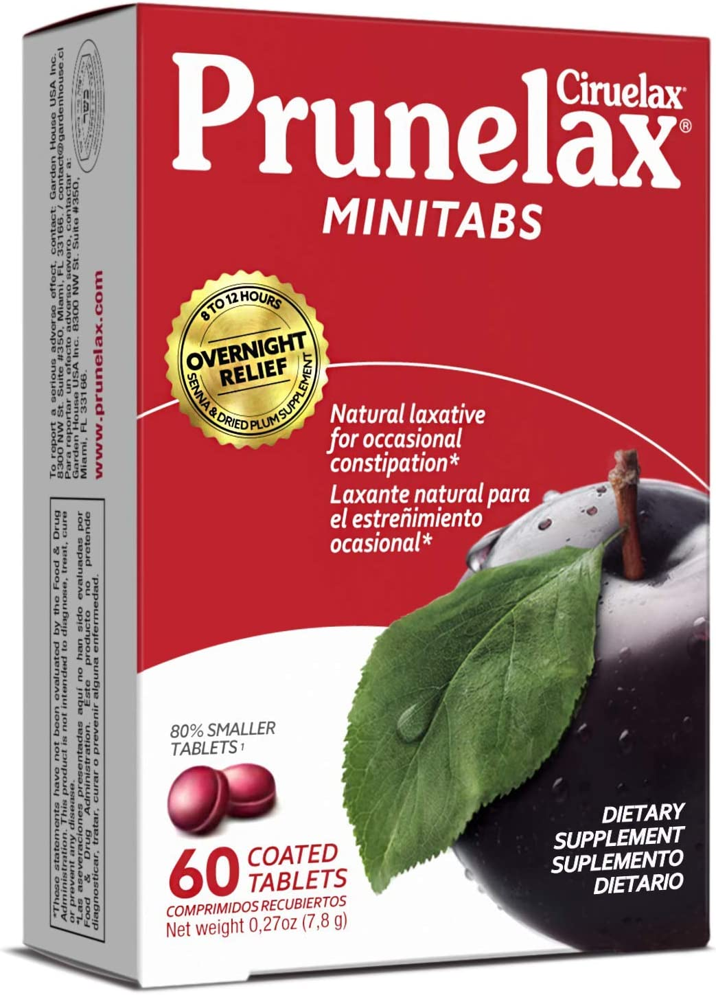 Prunelax Ciruelax Fashionable Natural Laxative Mini 60Count Tablets New product type Regular