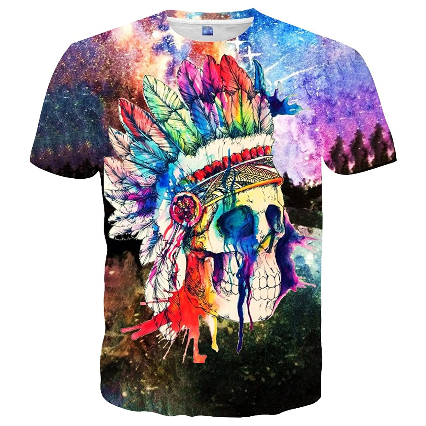 Yasswete Unisex Tops 3D Pattern Printed Short Sleeve T-Shirts