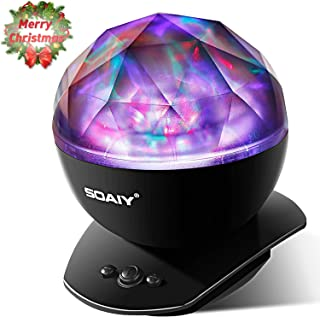 SOAIY Sleep Soother Aurora Projection LED Night Light Lamp with 8 Lighting Mode & Speaker, Relaxing Light Show for Baby Kids and Adults, Mood Light for Baby Nursery Bedroom Living Room (Black)