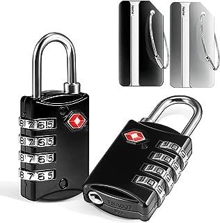 2 x TSA Candados de Seguridad y 2 x Etiquetas para Equipaje, Yosemy Candados Combinación de 4 Dígitos para Gimnasio Maleta Caja de Herramientas Gabinete Puerta Cobertizo Almacenamiento Equipaje