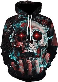 WXDSNH Halloween Skull 3D-sweatshirt voor dames en heren, met capuchon, met zak, herfst, hoodie, casual, horror, lange mou...