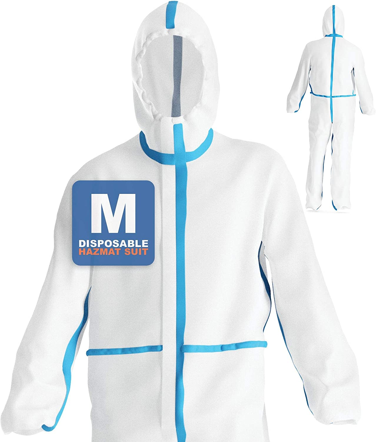 Disposable Hazmat Coverall Suit - Full Body Protective Isolation Coveralls for Surgical, Hospital, Painter, Hazard : Tools & Home Improvement