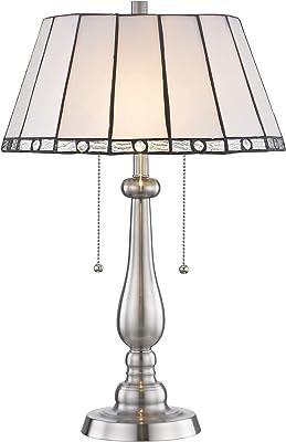 Dale Tiffany STT17025 Adrianna Tiffany Table Lamp, Brushed Nickel