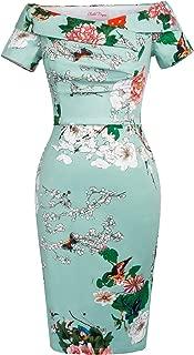 Belle Poque Off Shoulder 1950s Vintage Dress Short Sleeve Homecoming Pencil Dress