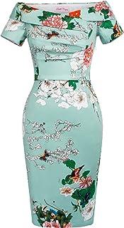 Belle Poque Vestito Donna Vita Alta Abito Elegante Bodycon da Cerimonia Elastico Alto