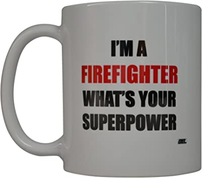 Funny Firefighter Coffee Mug Whats Your Superpower Novelty Cup Fire Fighter FD Fire Department