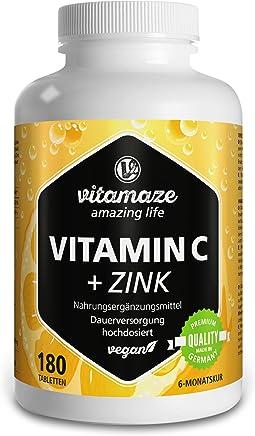 Vitamaze Vitamina C ad alto dosaggio da 1000 mg + bioflavonoidi + zinco 180 compresse vegetali in confezione scorta per sei mesi, prodotto di qualità tedesca senza stearato di magnesio