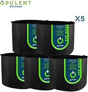 OPULENT SYSTEMS 5-Pack 20 Gallon Grow Bags Heavy Duty Thickened Nonwoven Fabric Containers for Potato/Plant Growing Pots with Handles (Black)