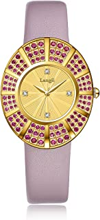 Langii Luxury Jewelry Quartz Watches for Women Leather Wrist Band Yellow Gold 108 Pink Crystals Stones