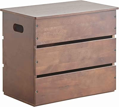 Benjara Plank Style Wooden Storage Box with Cut Out Handles, Brown