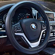Valleycomfy Universal 15 inch Auto Car Steering Wheel Cover with Black Genuine Leather for HRV CRV Accord Corolla Prius Rav4 Tacoma Camry X1 X3 X5 335i 535i,etc.