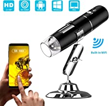 WiFi Digital Microscope, VSATEN 50x to 1000x Magnification Wireless Microscope Camera 1080P HD 2MP Zoom Endoscope with Stand, 8 Led Light for Android & IOS Phone, Tablet, iPhone Windows & Mac Computer