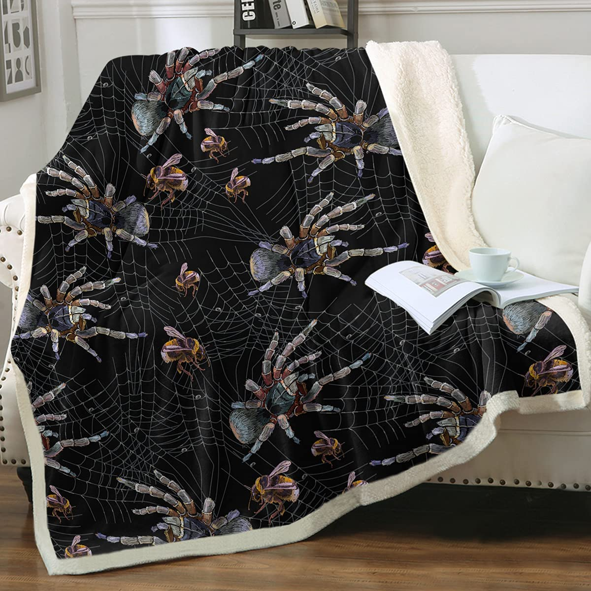 Sleepwish Spider Web Sherpa Throws 3D King 108