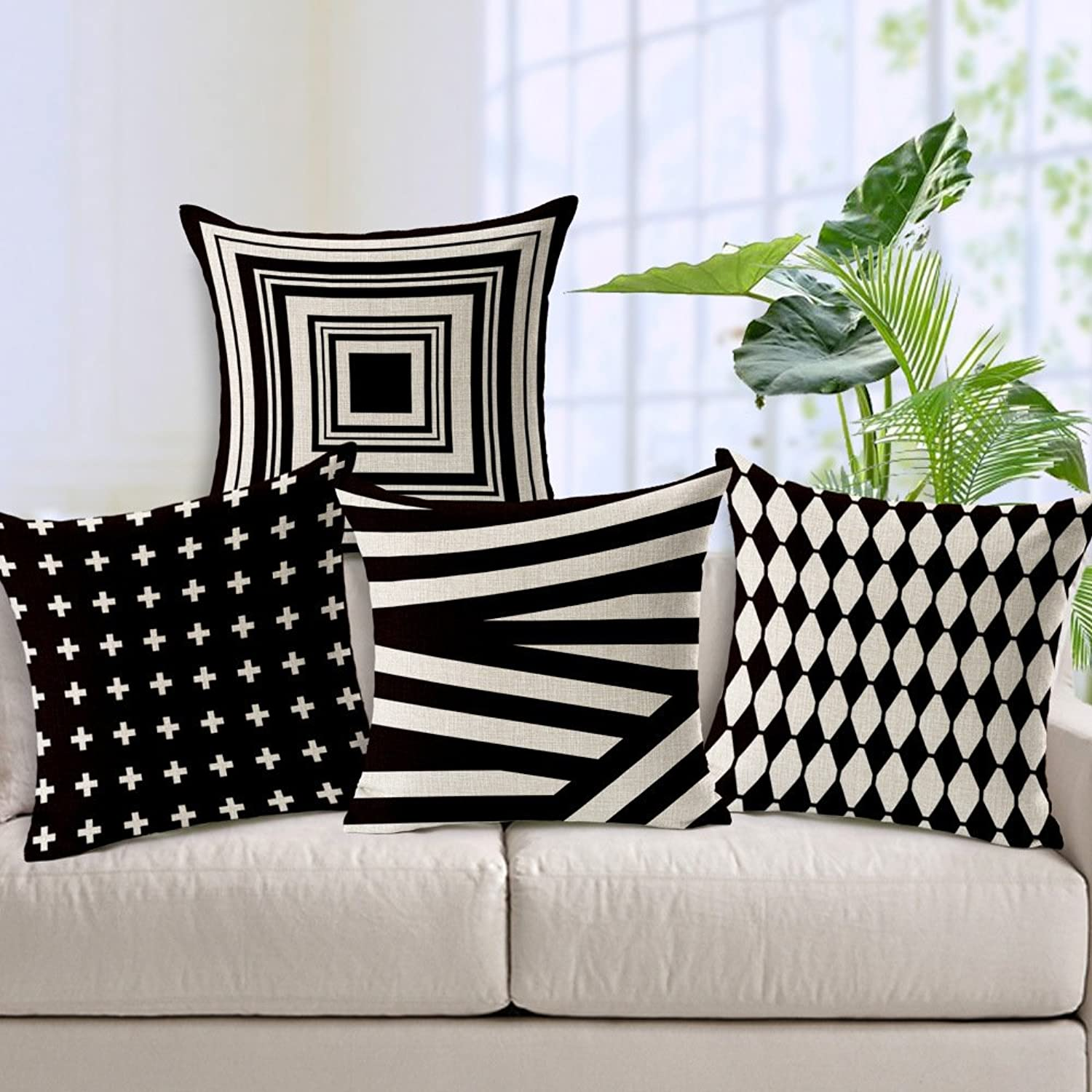 Great Fun Gift 4 Pcs Black and White Shading Geometric Soft Cotton Padded Cushion Cover