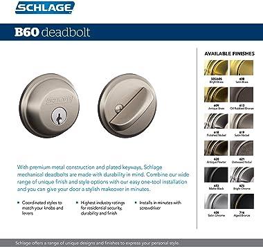 SCHLAGE B60N622 Deadbolt, Keyed 1 Side, Matte Black