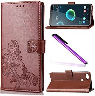 HTC Desire 12 Plus Case Cover EMAXELER Stylish Wallet Case Kickstand Flip Case Credit Cards Slot Cash Pockets PU Leather Flip Wallet with Stand for HTC Desire 12 Plus