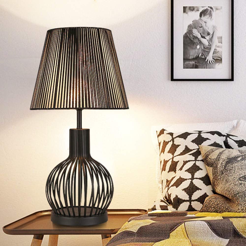 Iluminación de interior Lámparas mesilla de noche Lámpara de mesa en jarrón de hierro forjado negro simple D.300 * H620mm, para el salón, mesita para el sofá, oficina: Amazon.es: Iluminación