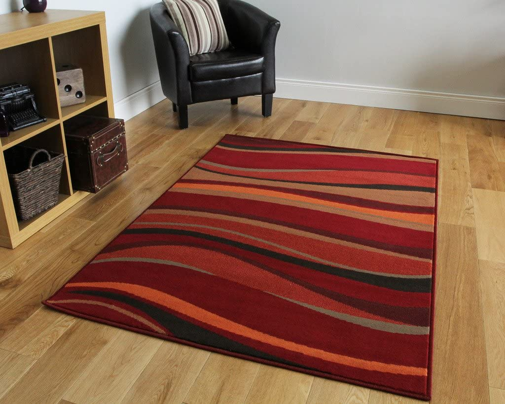 The Rug House Warm Red Brown Burnt Orange Modern Waves Rugs 63cm X 110cm 2ft 1 X 3ft 7 Amazon Co Uk Kitchen Home