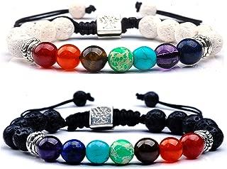 RIVERTREE Black Lava Beaded Bracelet 7 Chakras Gem Stone with Braided Rope Unisex 8mm