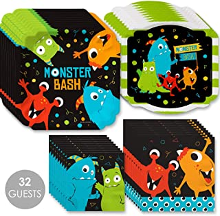 Big Dot of Happiness Monster Bash - Little Monster Birthday Party or Baby Shower Tableware Plates and Napkins - Bundle for 32