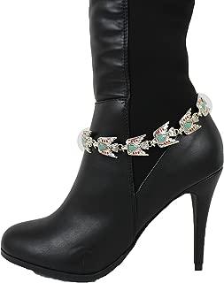 TFJ Women Western Fashion Jewelry Boot Chain Bracelet Silver Metal American Eagle Native Bird Bling Shoe Charm