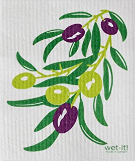 Swedish Treasures Wet-it! Cleaning Cloth, Olive Branch Super Absorbent, Reusable, Biodegradable,