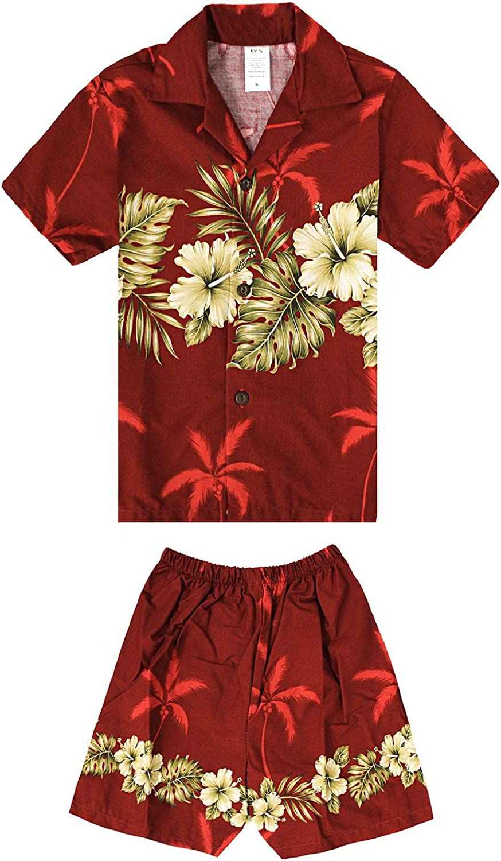 Made in Hawaii Luau Aloha Shirt and Shorts Boy Cabana Set Gloden Hibiscus Cross in