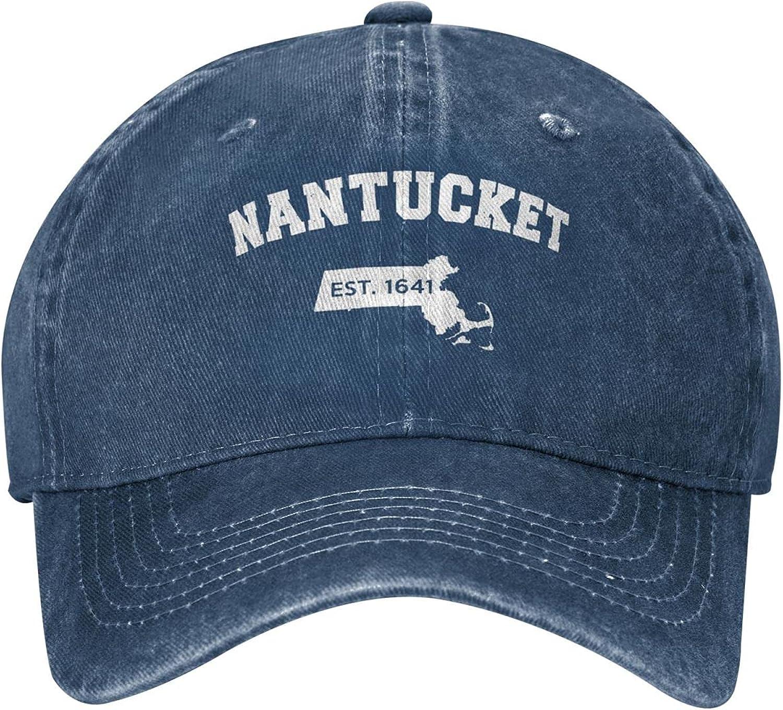 Nantucket Massachusetts Est Unisex Low Profile Dad Hats Adjustable Denim Headwear Breathable Baseball Caps