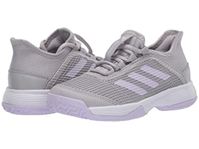 adidas Kids Adizero Club Tennis (Little Kid/Big Kid) (Grey/Purple Tine/White) Girl