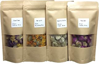 MinaJoy Four Packs Dried Flowers Marigold, strawflower, Peony for Flower Tea, Handmade soap and Candle, Sachet and Food Decoration