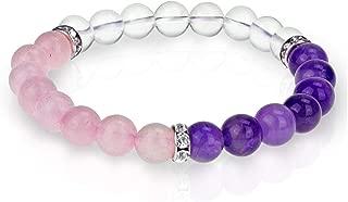 Rose Quartz Amethyst Crystal Bracelet- for Anti Depression Healing-Love Chakra-Reiki