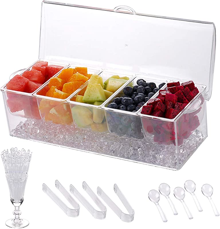 IVYONE Chilled Condiment Server Clear Icy Condiment Server Caddy Chilled Condiment Tray With Lid And 5 Removable Compartments