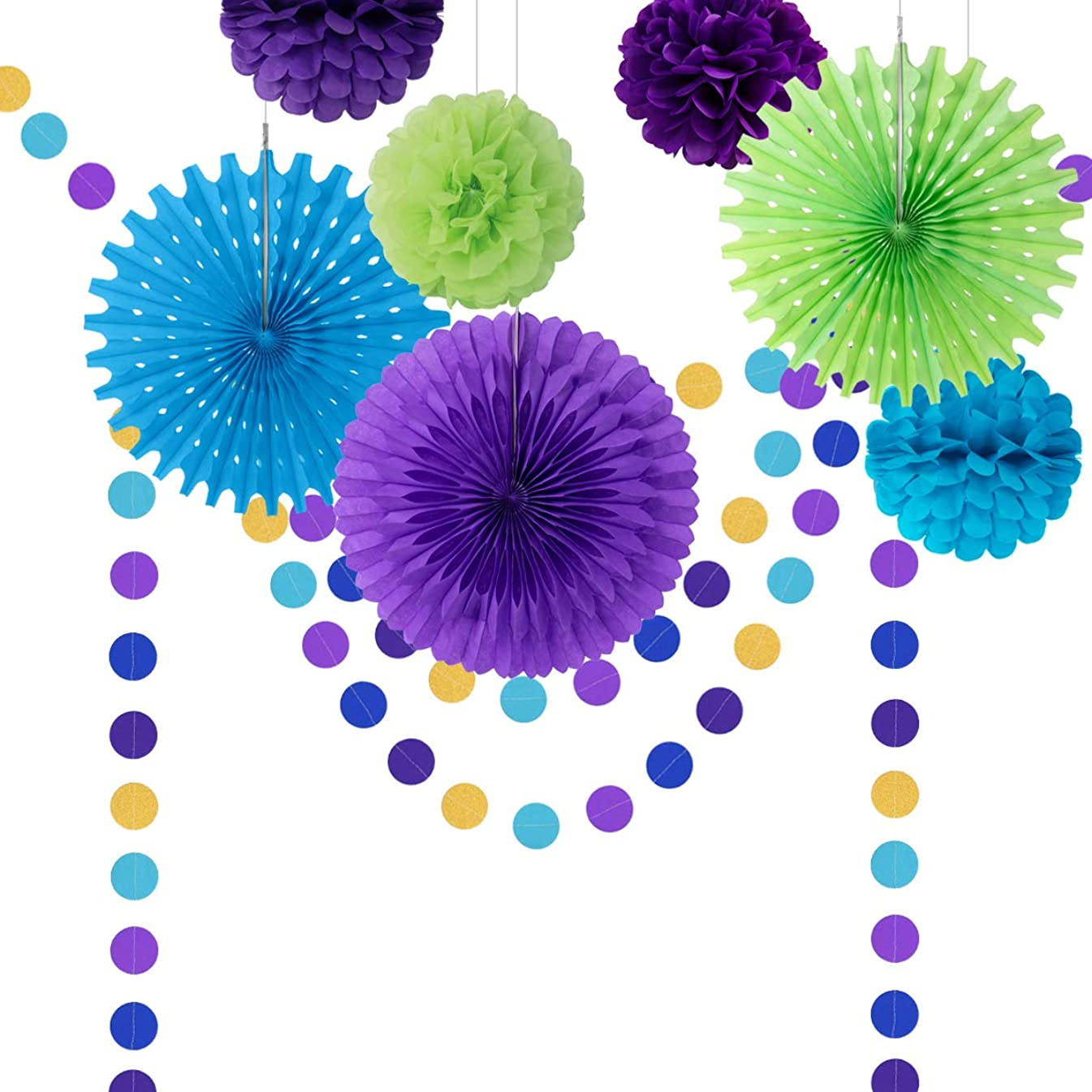 Paper Fan Party Decorations Kit, Peacock Theme Party Supplies Tissue Paper Fan Pom Pom Honeycomb Balls Circle Dot Garland Colorful Decor for Birthday Bridal Shower Under The Sea Party Decorations