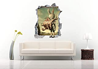 3D Art Surrealism Rabbit with an Octopus Wall Decal Nursery Wall Stickers, Decor for Home Bedroom Children