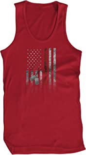 Amdesco Men's American Flag with Dog Tags Tank Top