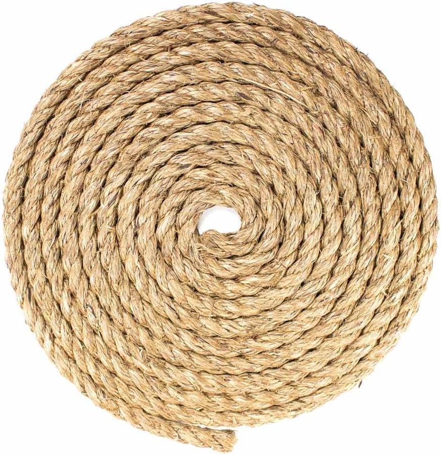 5//8 Inch x 10 Feet Twisted Manila Hemp Rope