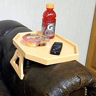 Clip Table for Chair/Couch Arm, Honey/Peach Color, Wooden, Spring Loaded Clamps.