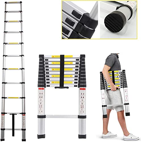 high quality Extension Telescoping Ladder 10.5ft / 3.2M Portable Folding outlet sale Steps Aluminum Anti-Slip Feet 330lb Load outlet online sale Capacity online
