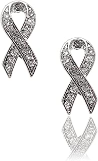 cancer ribbon earrings